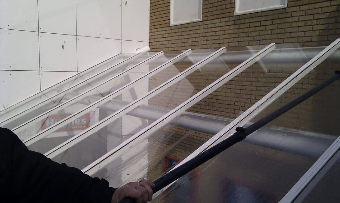Retail Park Glass Canopy & Atriums Cleaned Ipswich